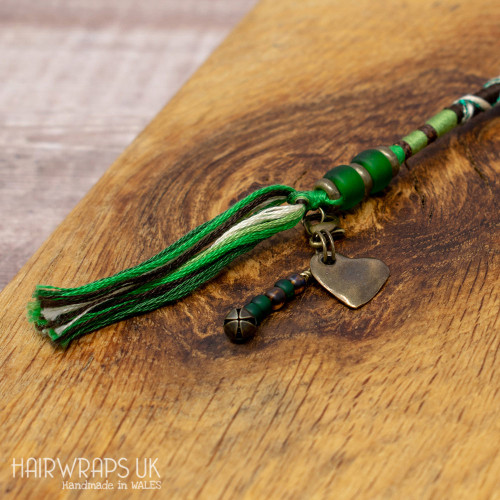 Heart and Green Bead Dangle Charm.