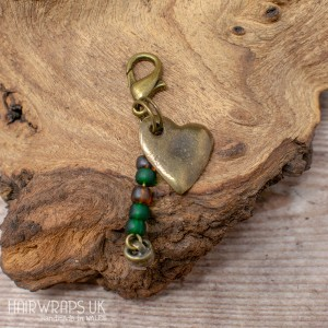 Heart and Green Bead Dangle Charm.