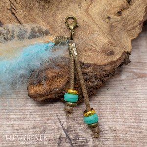 Turquoise Sea Glass Bead Feather Dangle Charm.