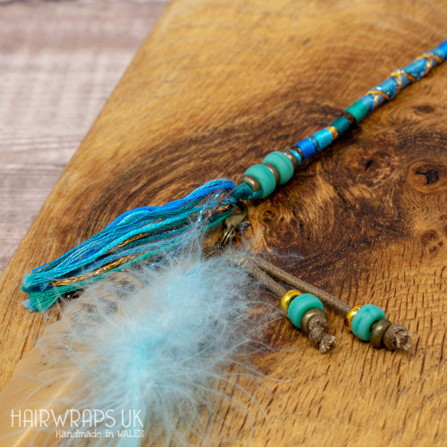 Turquoise Sea Glass Bead Feather Dangle Charm.