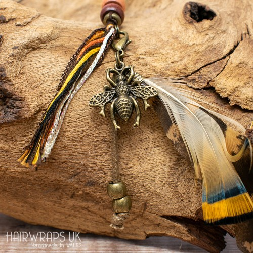 Bumble Bee and Dangle Feather Charm.