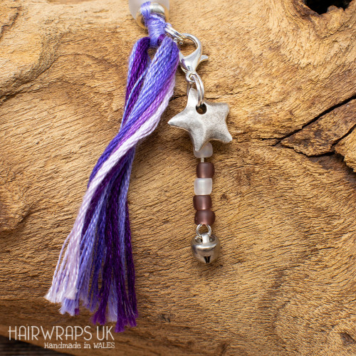 Star and Amethyst Bead Dangle Charm.