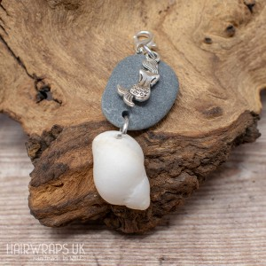Mermaid, Shell, and Pebble Charm.
