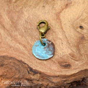 Rustic Copper Patina Disc Charm.