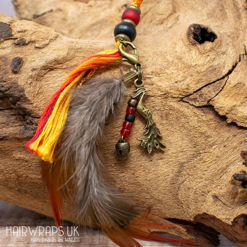 Phoenix and Dangle Feather Charm.