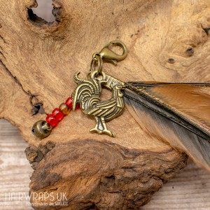 Rooster and Dangle Feather Charm.