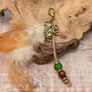 Squirrel and Feather Dangle Charm.
