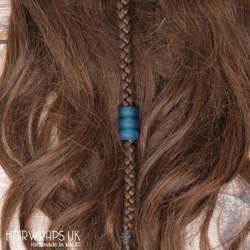 Set of blue sea-glass beads, Large hole dread beads, Dreadlock bead set.