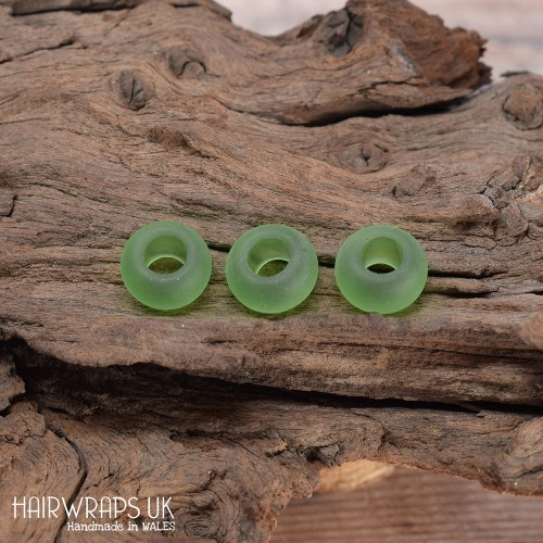 Set of green sea-glass beads, Large hole dread beads, Dreadlock bead set.