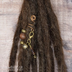 Handmade Tibetan Bronze Cuff for Dreadlocks with Bell Dangle Charm.