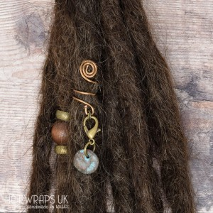 Handmade Tibetan Bronze Cuff for Dreads with Patina Disc Charm