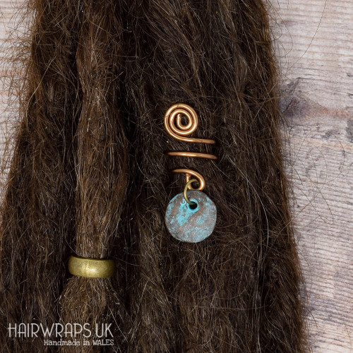 Handmade Tibetan Bronze Cuff for Dreads with Patina Disc Charm