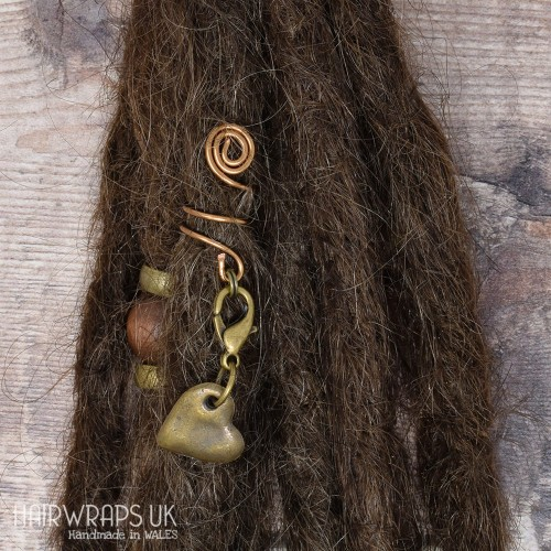 Handmade Tibetan Bronze Cuff for Dreads with Heart Charm