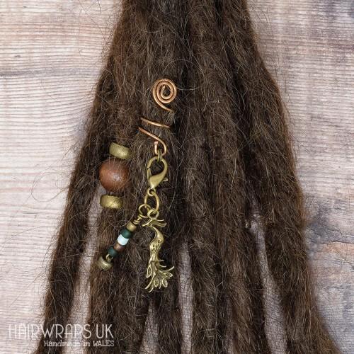 Handmade Tibetan Bronze Cuff for Dreads with Phoenix Bell Dangle Charm
