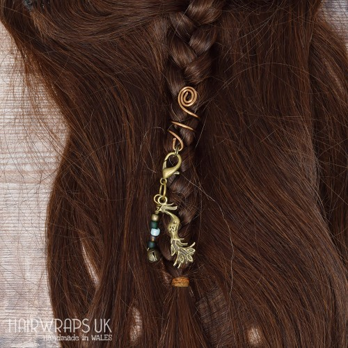 Handmade Tibetan Bronze Cuff for Dreads with Phoenix Bell Dangle Charm
