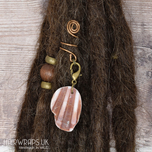 Handmade Tibetan Bronze Cuff for Dreads with Foraged Welsh Shell Charm