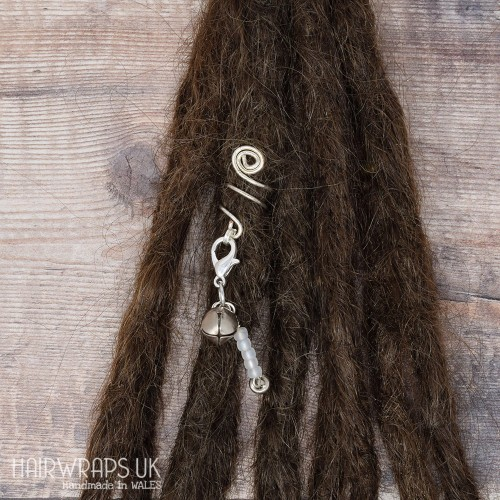 Handmade Tibetan Silver Cuff for Dreads with Bell Dangle Charm