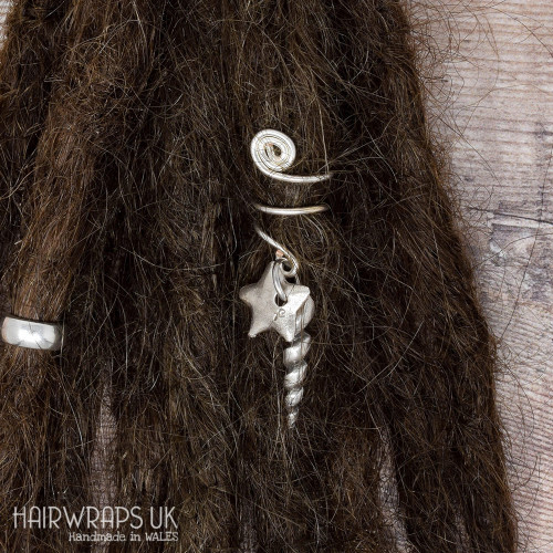 Handmade Tibetan Silver Cuff for Dreads with Unicorn Horn and Star Charm