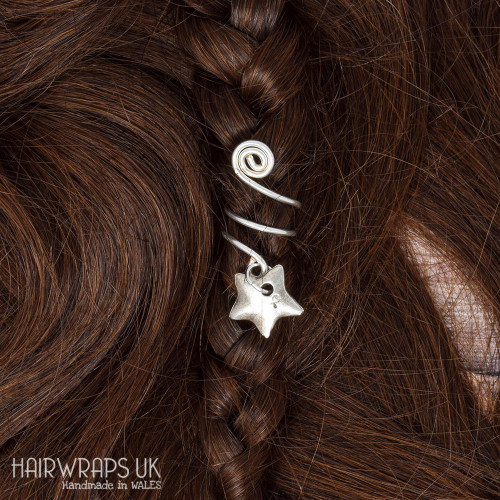 Handmade Tibetan Silver Cuff for Dreads with Star Charm
