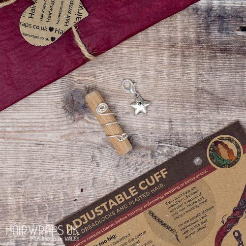 Handmade Tibetan Silver Cuff for Dreads with Star Charm