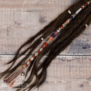 Vegan Dreadlock hair wrap, Chunky accent lock. 100% Cotton - Cinnamon Moon.