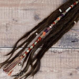Vegan Dreadlock hair wrap, Chunky accent lock. 100% Cotton - Cinnamon Moon.