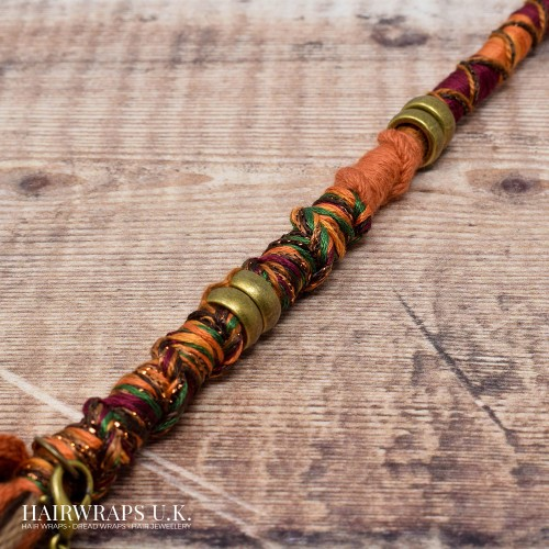 Vegan, 100% Wool-free Orange and Brown Cotton Dread Wrap for Dreadlocks or natural hair - Earth Tribe..