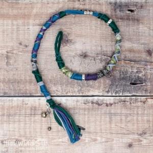 Cotton Hair Wrap for Dreads or natural hair. Wool-free Dread Wrap - Emerald Shadow.