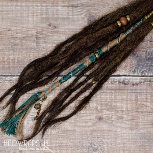 Chunky Hair Wrap, Attachable Vegan wrap for Dreads or Natural hair - Fern Wood.