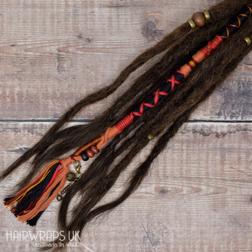 Vegan hair extension, Chunky Accent Lock for natural hair or dreads – Inferno.