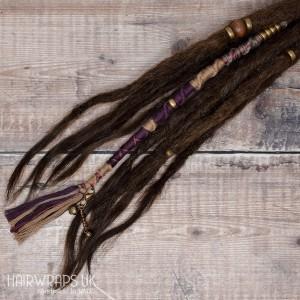 100% Cotton, Wool Free Vegan Chunky Dreadlock Hair Wrap - Natural Plum