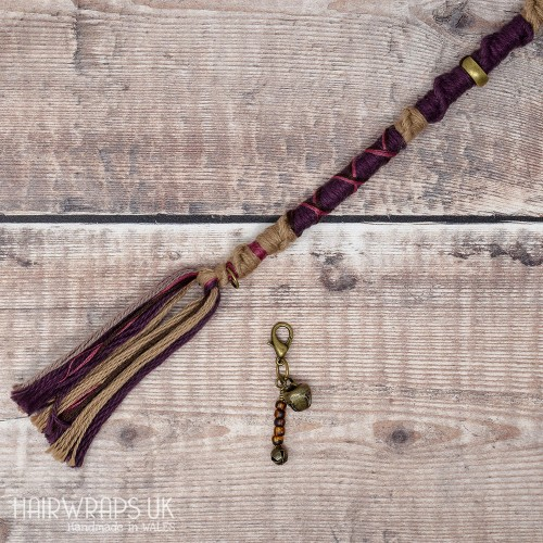 100% Cotton, Wool Free Vegan Chunky Dreadlock Hair Wrap - Natural Plum
