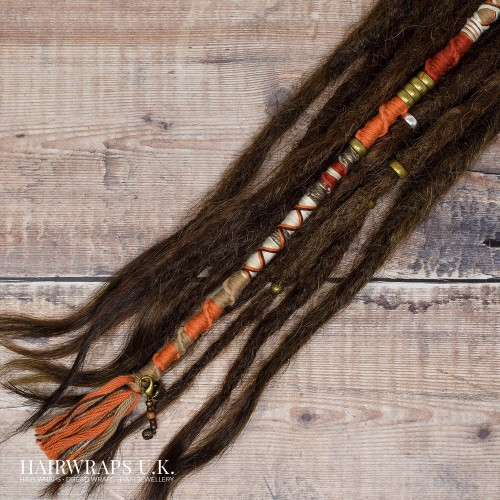 Chunky Vegan Dreadlock Wrap, Accent Loc, Cotton Hair Wrap for Dreads or natural hair – Pumpkin Spice.