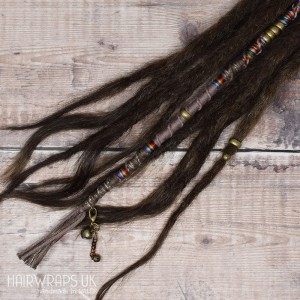 Vegan, Wool-free Dread Wrap, Cotton Hair Wrap for Dreadlocks or natural hair - Rainbow Rust.