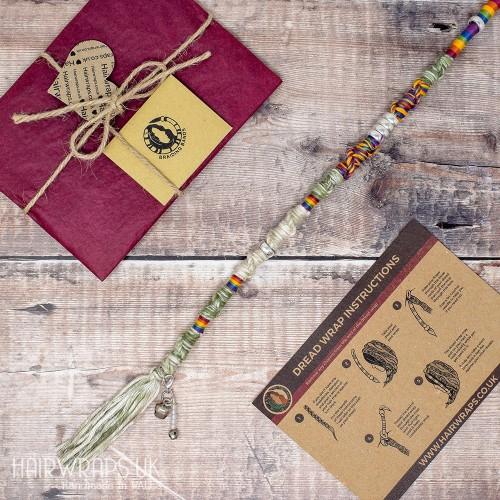 Vegan, Plastic-free Dread Wrap, Cotton Hair Wrap for Dreadlocks or natural hair - Rainbow Mist.