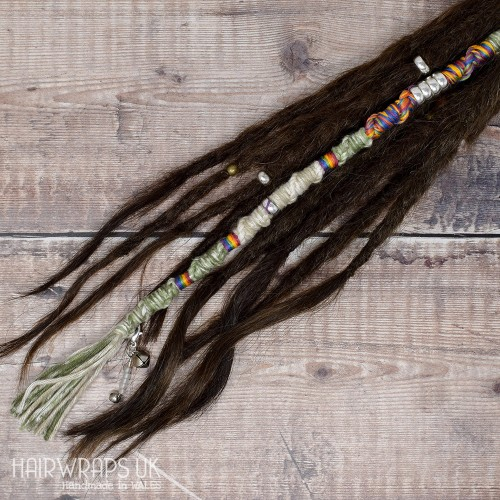Vegan, Plastic-free Dread Wrap, Cotton Hair Wrap for Dreadlocks or natural hair - Rainbow Mist.
