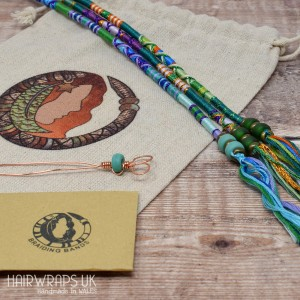 Gift Set of Three Matching Hair Wraps - Blue Green Set.
