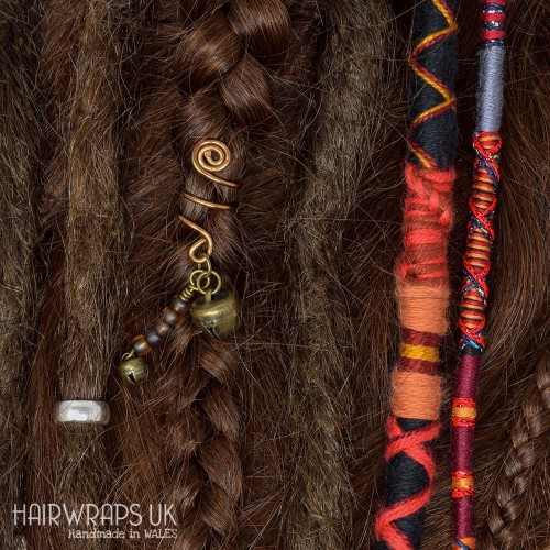 Set of Matching Dread Wrap, Hair Wrap, and Cuff - Dragon Inferno Set.