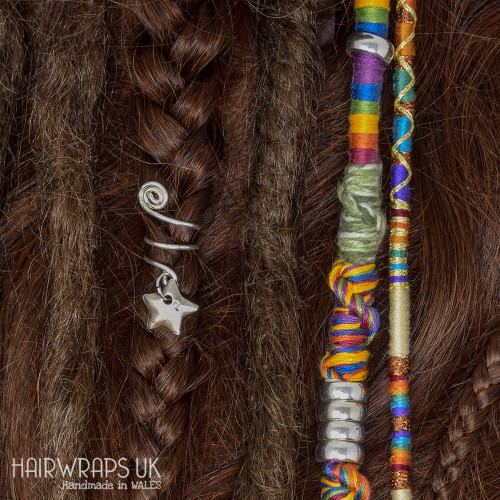 Set of Matching Dread Wrap, Hair Wrap, and Cuff - Misty Rainbow Mist Set.