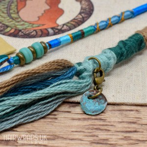 Set of Matching Dread Wrap, Hair Wrap, and Cuff - Neptune River Set.