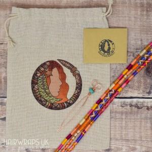 Gift Set of Three Matching Hair Wraps - Pinky Orange Set.