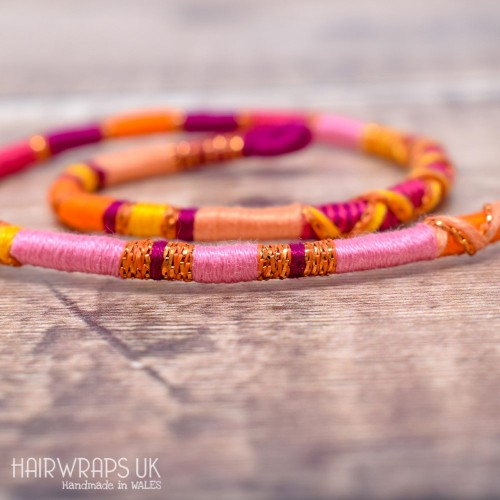 Removable Pink, Yellow, and Orange Hair Wrap with Glass Beads - Angel Delight.