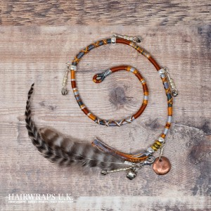 Removable Brown, Grey, and Orange Hair Wrap with Feathered Charm - Arian