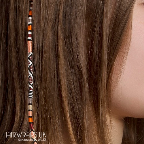 Removable Brown, Black, Orange, and Cream Hair Wrap with Wooden Beads - Autumn Blaze.
