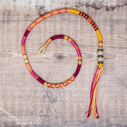 Removable Pink, Orange, and Peach Hair Wrap with Glass Beads - Berry Smoothie.