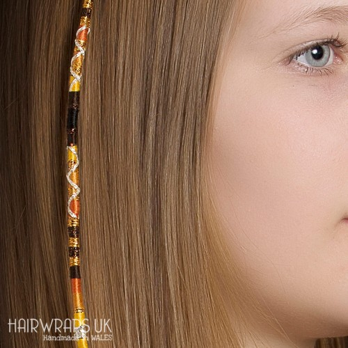 Removable Brown, Yellow, and Gold Hair Wrap with Wooden beads - Bumble Bee.
