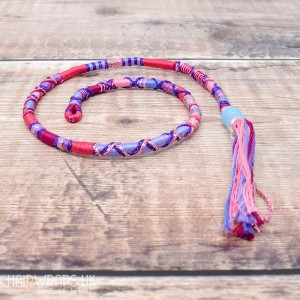 Removable Pink and Purple Hair Wrap with Glass Beads – Butterfly.