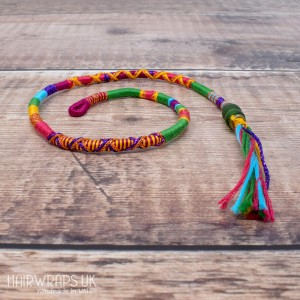 Removable Green, Pink, and Purple Hair Wrap with Glass Beads - Carnival Queen.