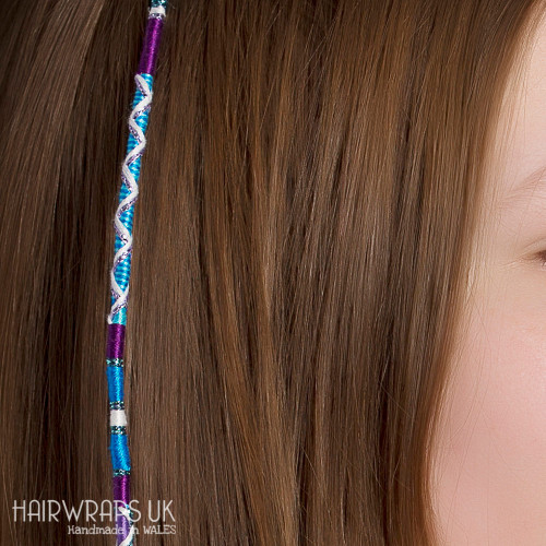Removable Blue and Purple Hair Wrap with Glass Beads – Cosmic.