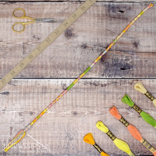 Removable Green, Yellow, and Peach Hair Wrap with Glass Beads - Daisy Daisy.
